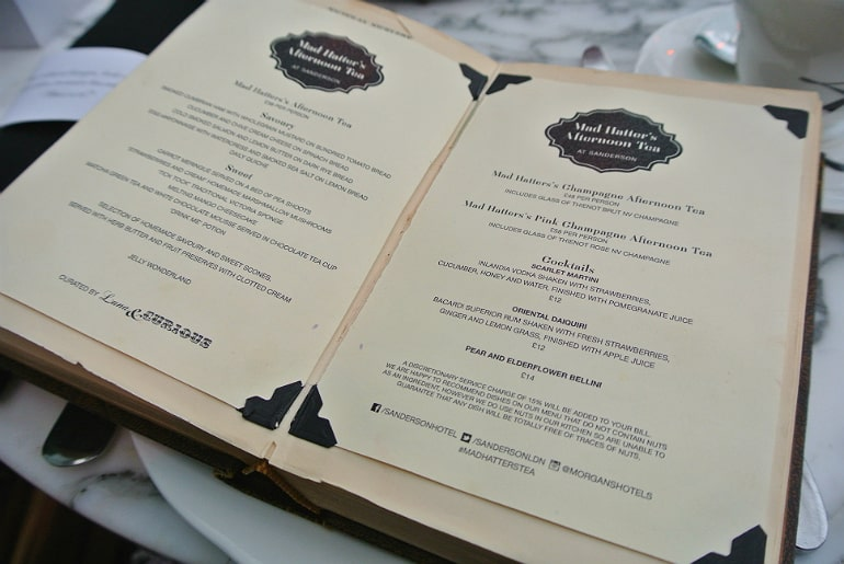 Sanderson London mad hatters tea party review menu book