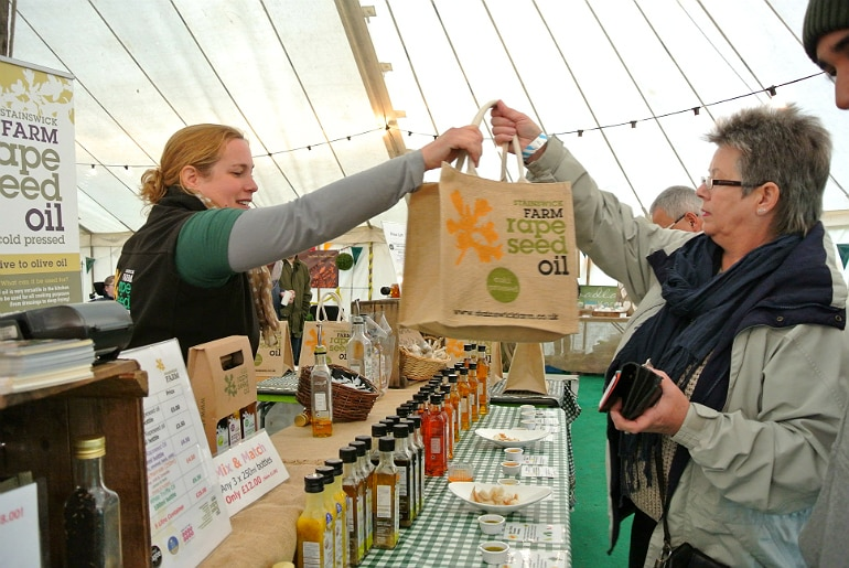 Gather food festival Stowe Sainswick Farm rape see oil