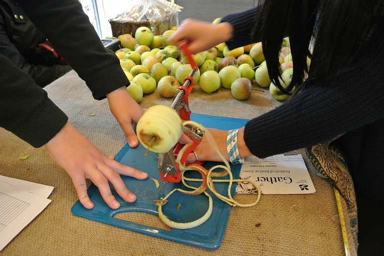Gather food festival Stowe apple competition peeler