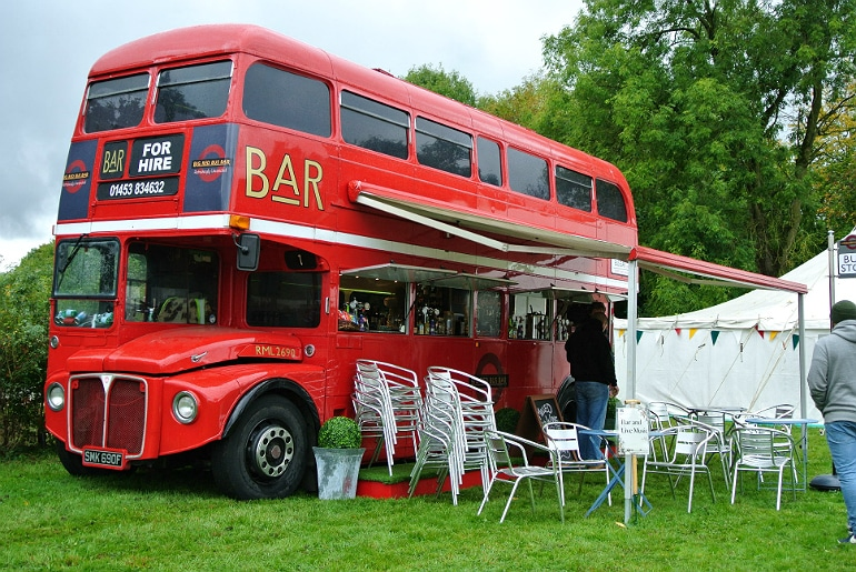 Gather food festival Stowe big red bus bar hire
