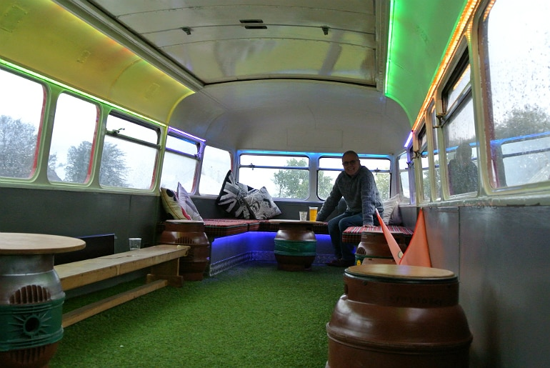 Gather food festival Stowe big red bus bar seating
