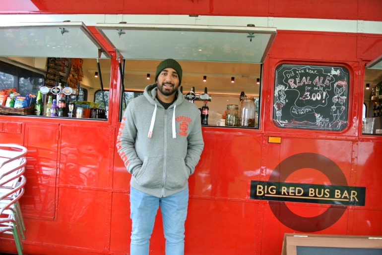 Gather food festival Stowe big red bus bar