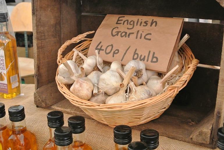 Gather food festival Stowe garlic bulbs
