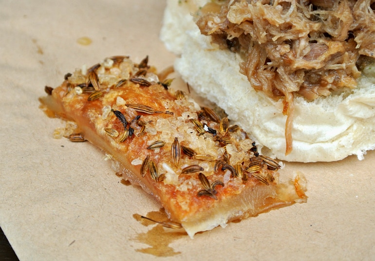 Gather food festival Stowe roly poly pork roll crackling