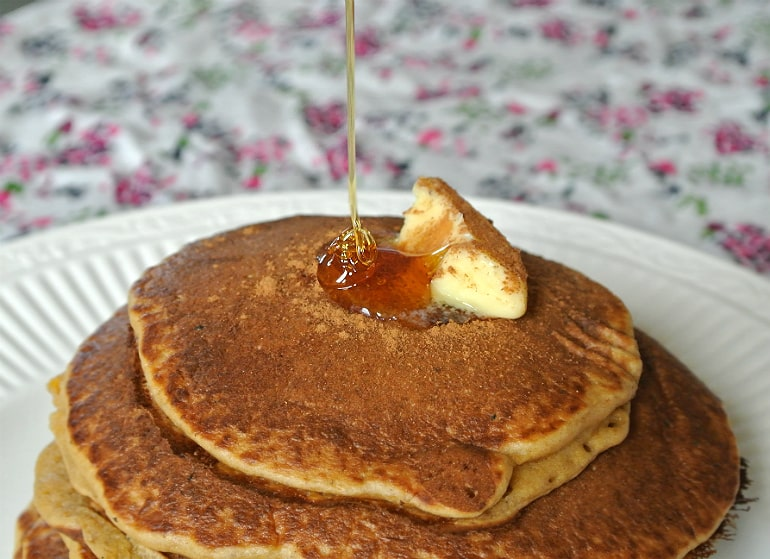 Pumpkin pancakes Halloween recipe with syrup
