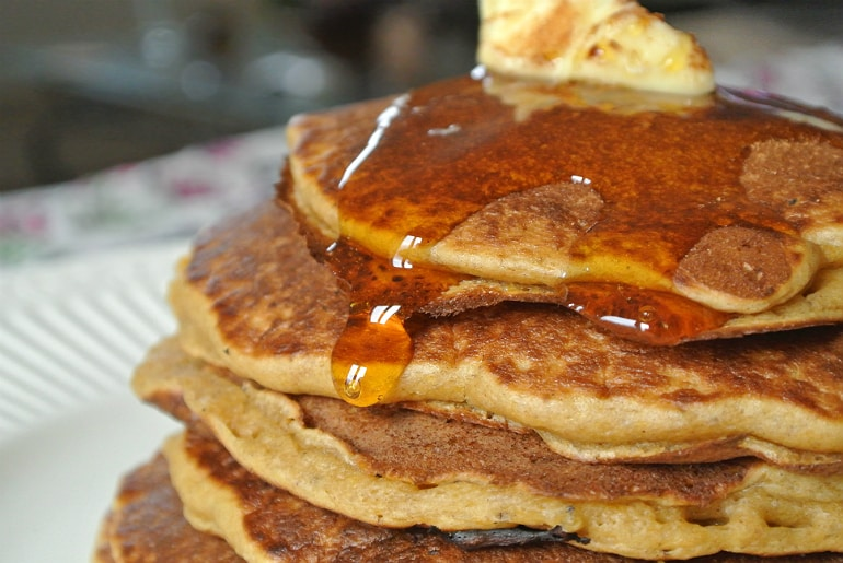 Syrup pumpkin pancakes Halloween recipe