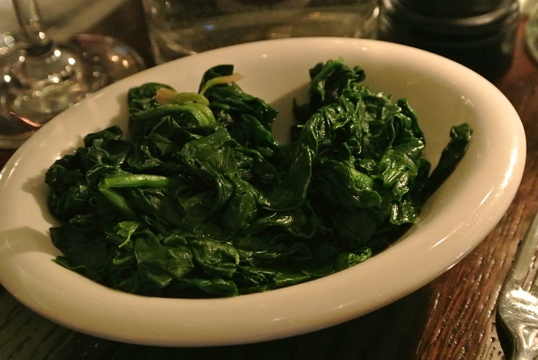 Boulestin London french restaurant review spinach