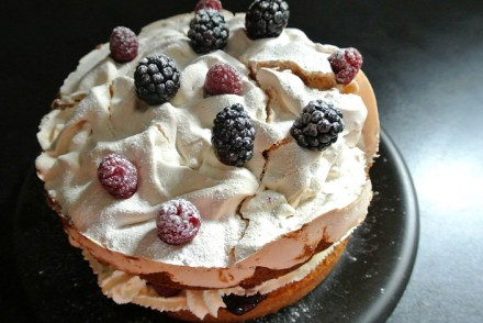 Blackberry meringue cake recipe cover
