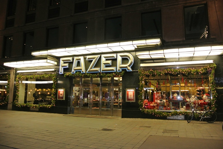 Helsinki Fazer cake shop sign