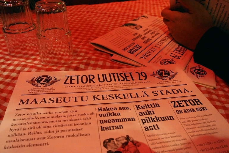 Helsinki Zetor bar menu