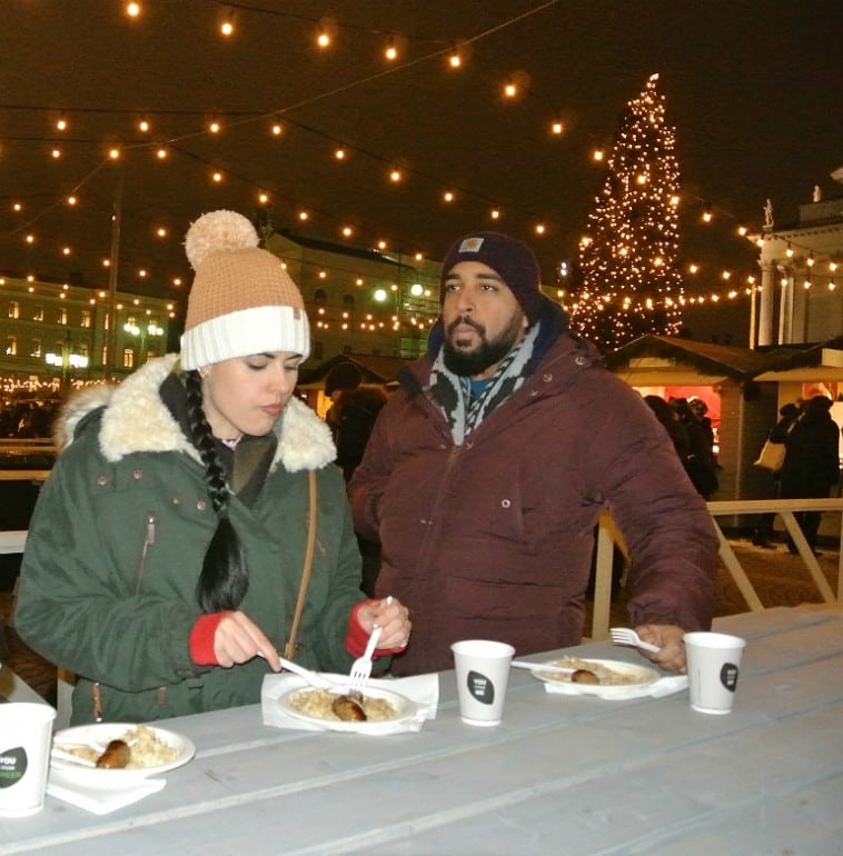 Helsinki christmas market sausage sauerkraut
