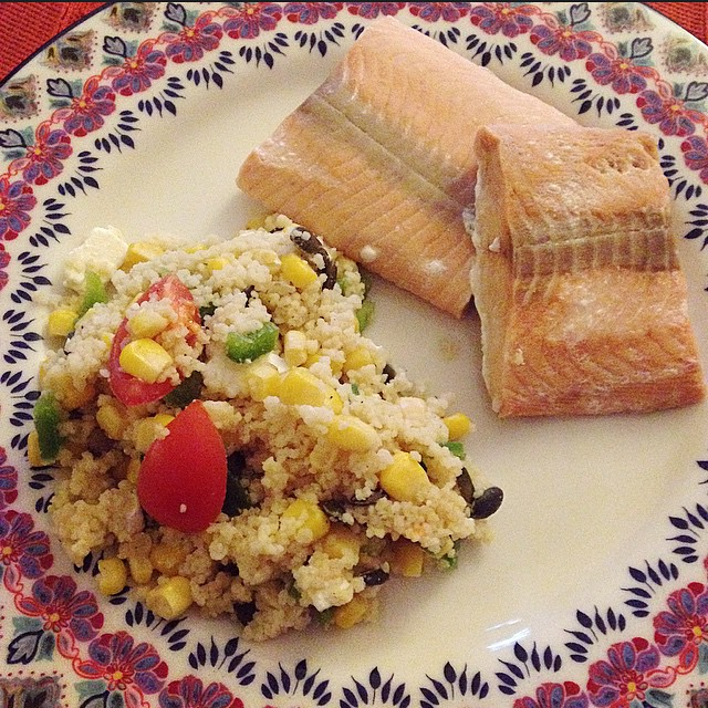 Steamed salmon & cous cous with veggies & white truffle oil ? #proteinchallenge #feelingupbeat #healthy #dinner