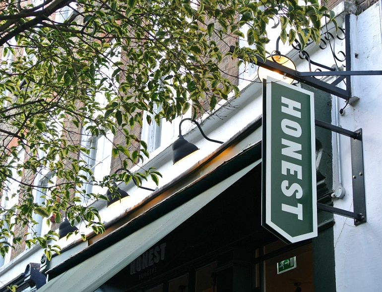 Honest burger Soho London review sign