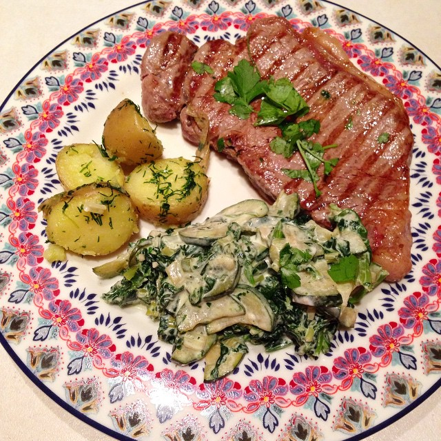 Greens sautéed with onions & creme fraiche make a great veggie side! And dill potatoes are rocking my world at the moment ? #dinner #healthy #foodpics