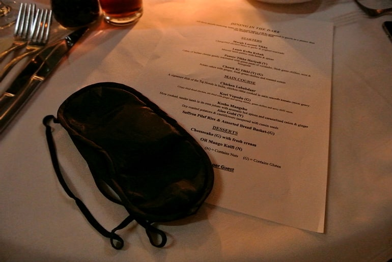 Calcutta Brasserie dining in the dark menu