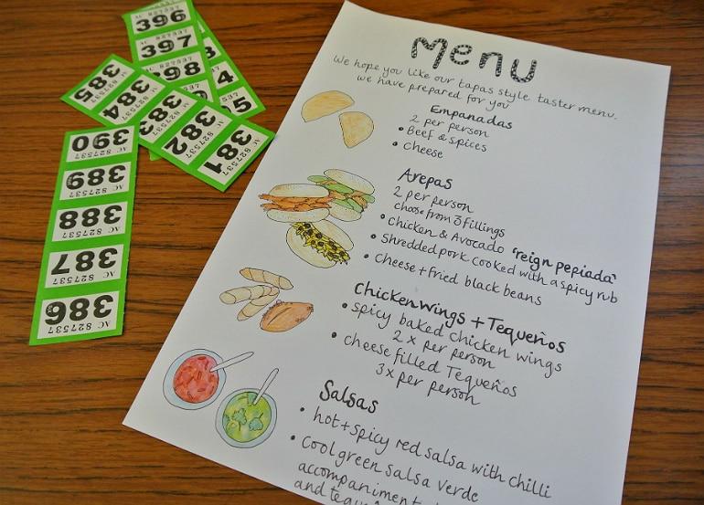 Peru Fundraiser menu