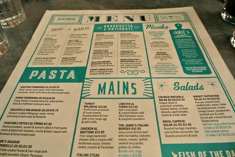 Jamie's Italian Milton Keynes review menu
