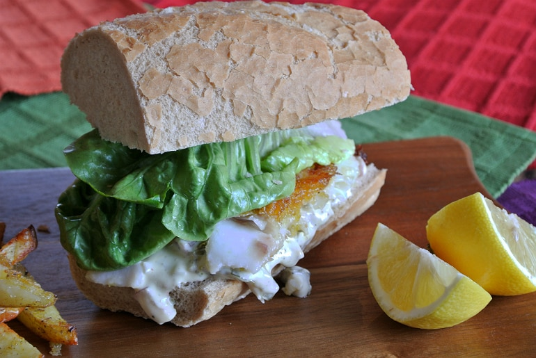 Gourmet fish finger sandwich recipe close up