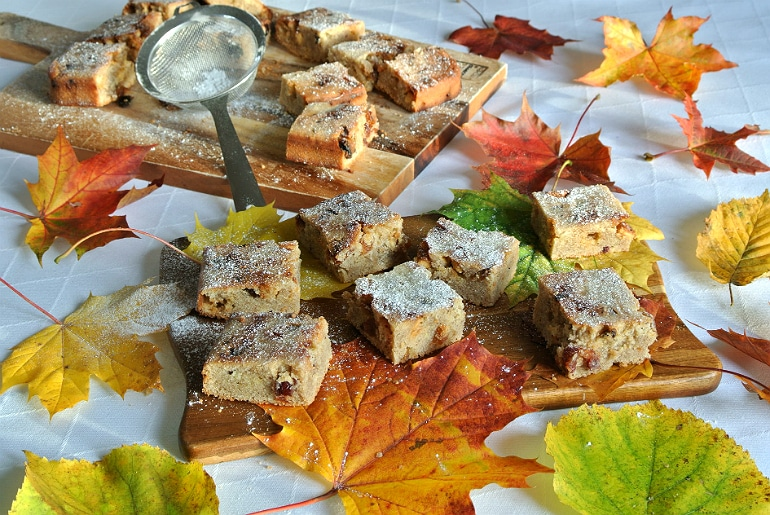 Spiced Autumn blondies recipe squares
