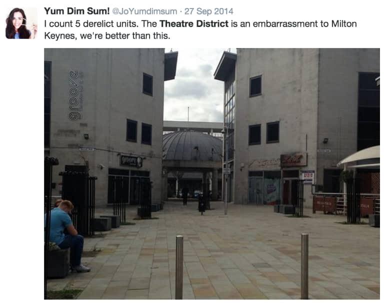 Theatre District Milton Keynes tweet