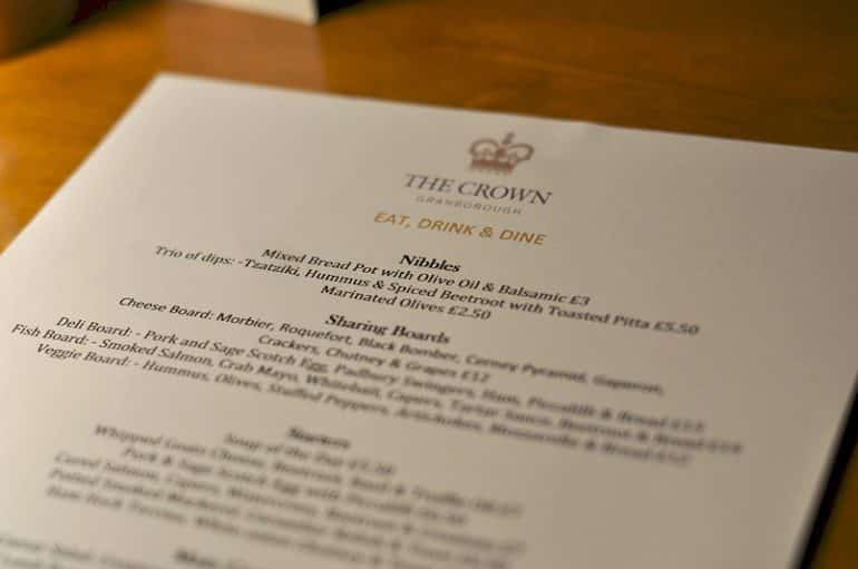 crown-granborough-review-menu
