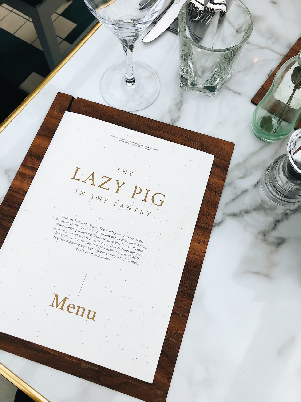 The Lazy Pig Menu