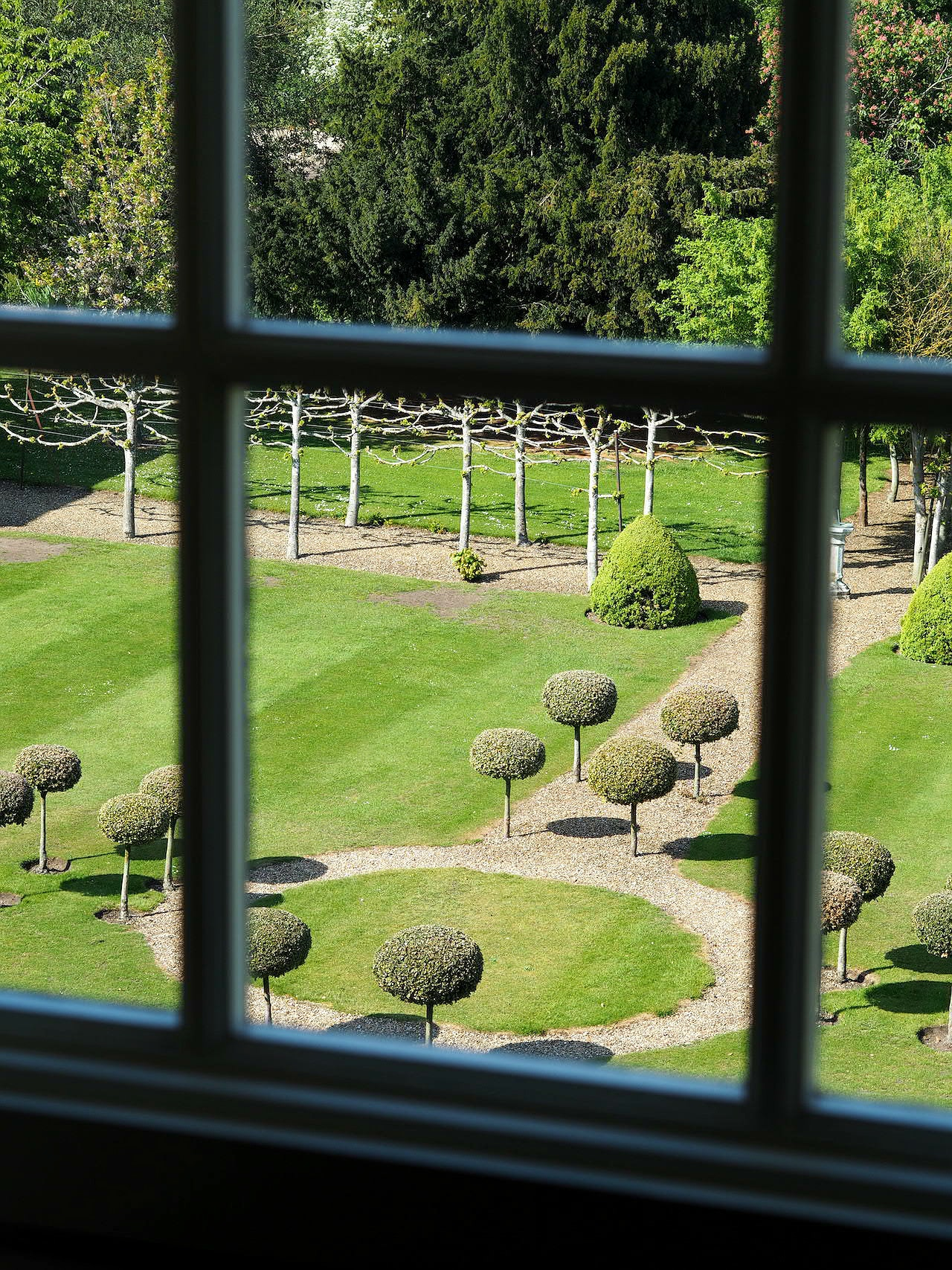 View of the Chicheley Hall gardens