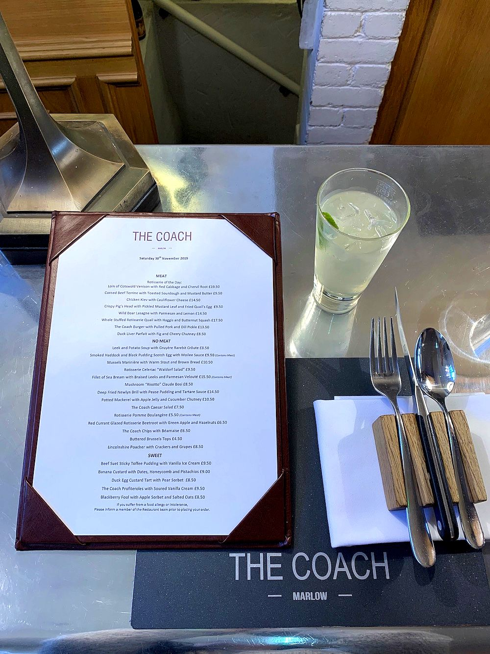 the coach marlow menu
