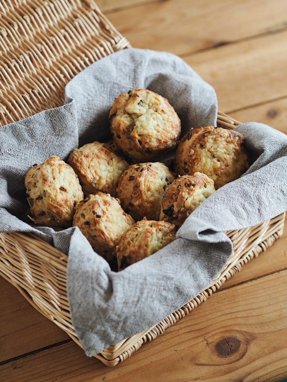 scones in basket